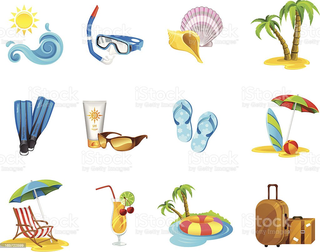 Cartoon images of a vacation icon set royalty-free stock vector art
