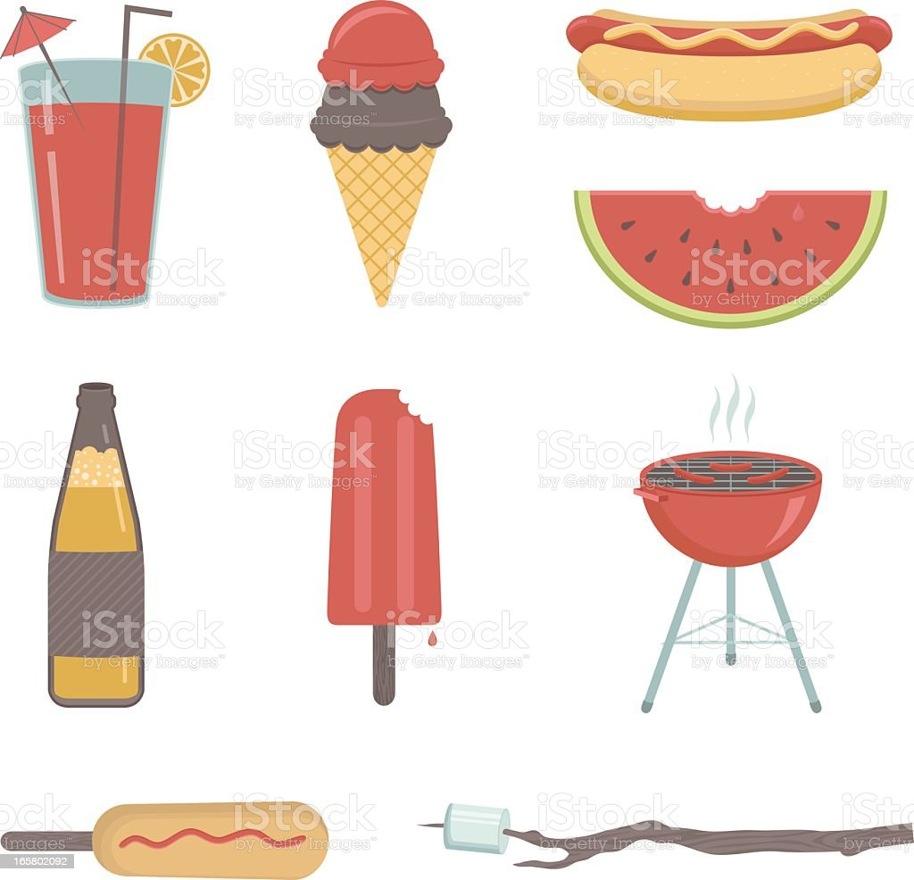 Cartoon images of common summer beverages and foods vector art illustration