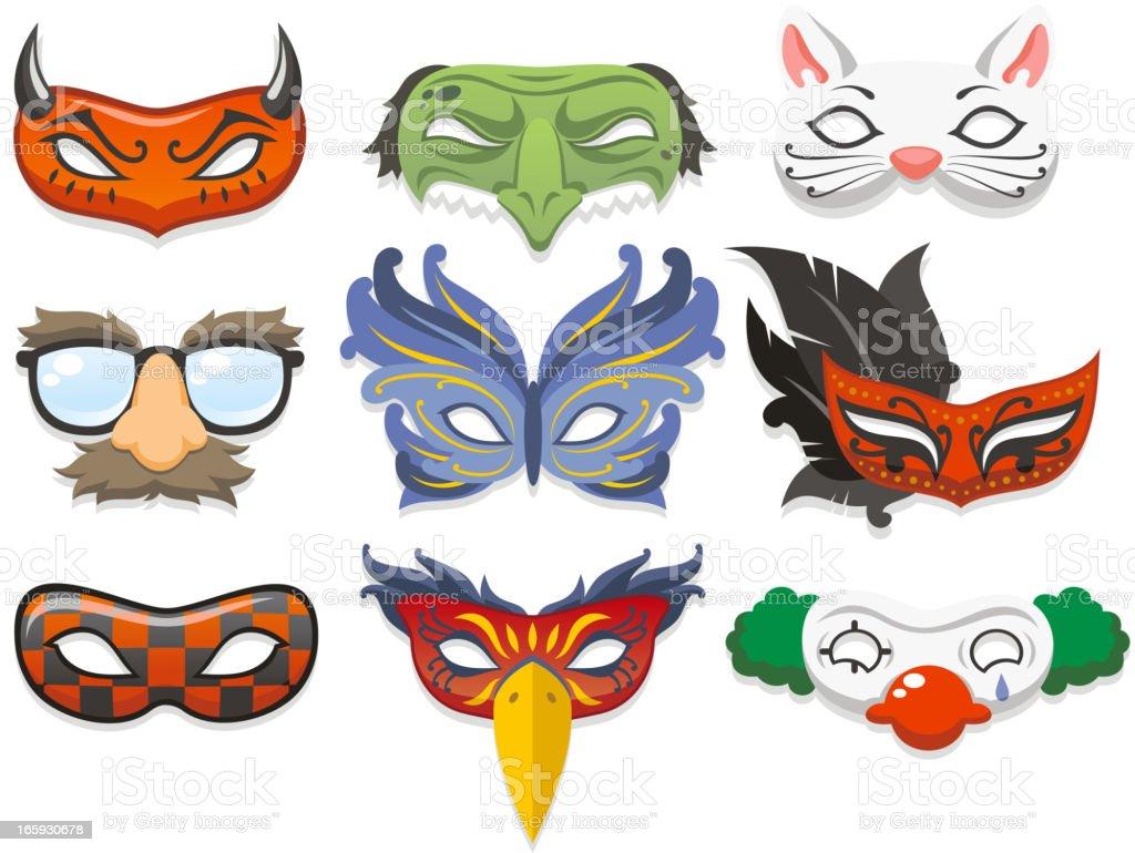 Cartoon images of masquerade masks vector art illustration