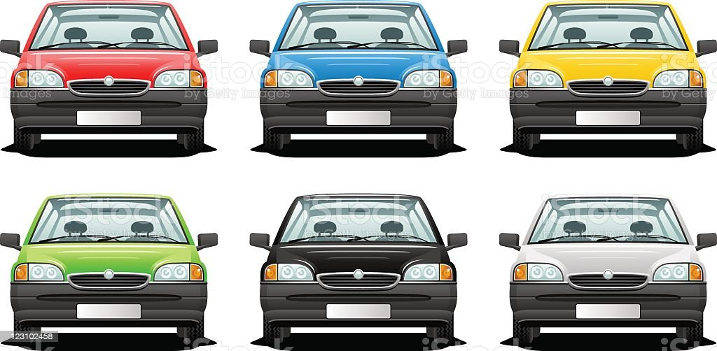 Cartoon images of the same car in six different colors vector art illustration