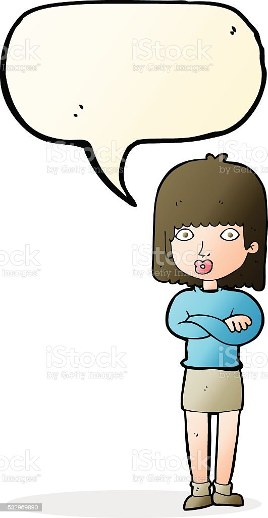 cartoon impatient woman with speech bubble vector art illustration