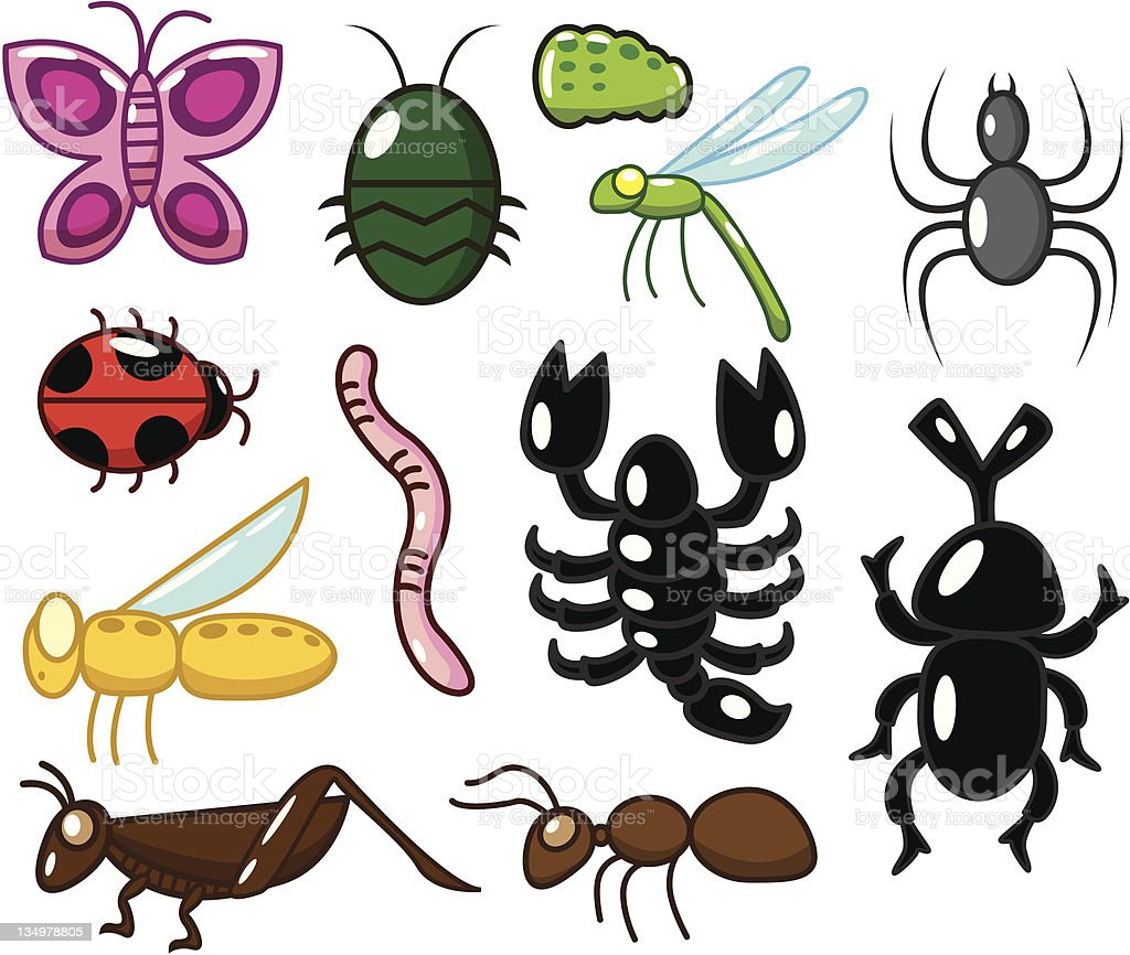 cartoon insect bug icons royalty-free stock vector art