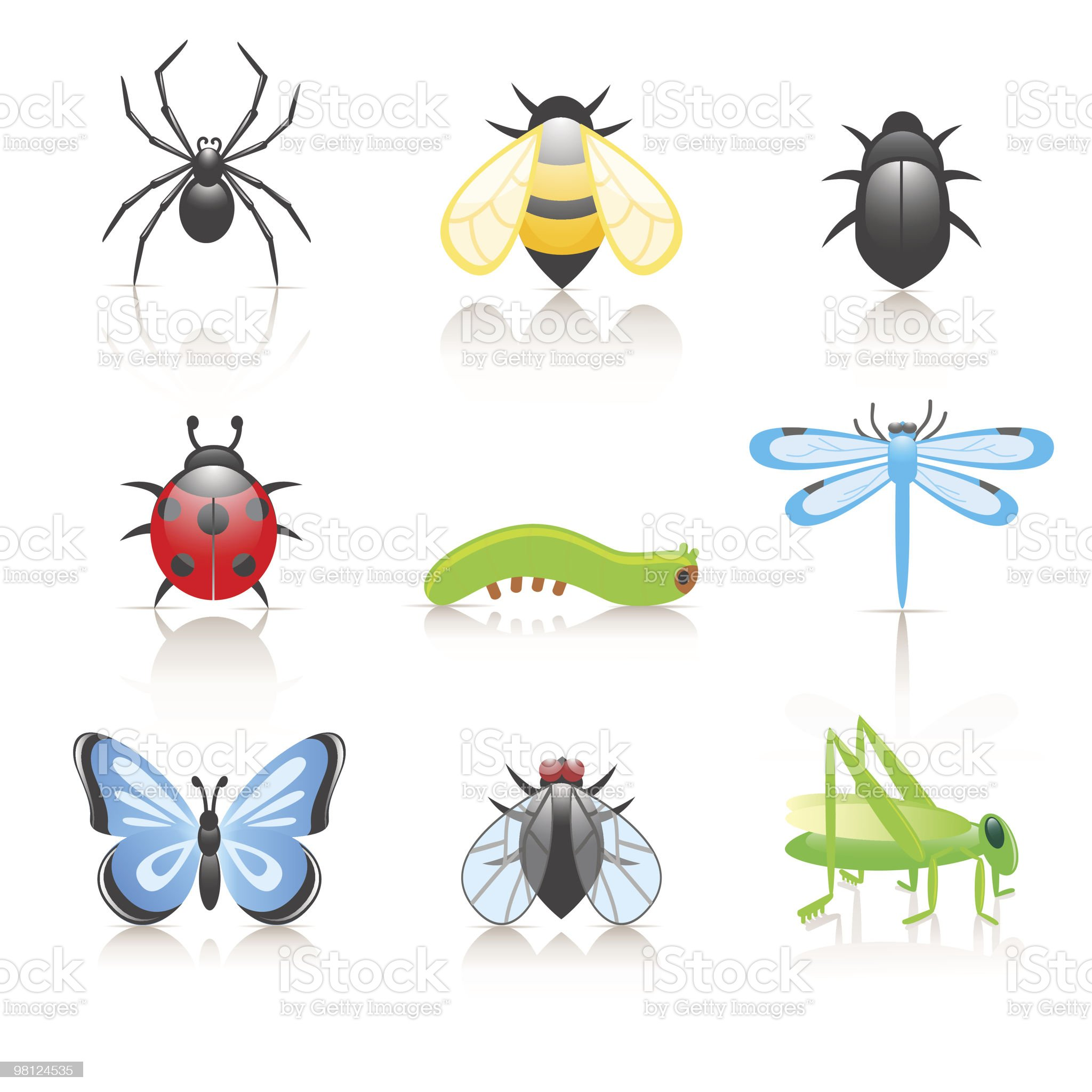 Cartoon insect icon set royalty-free stock vector art