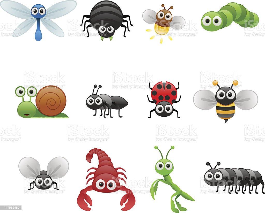 cartoon insect set royalty-free stock vector art