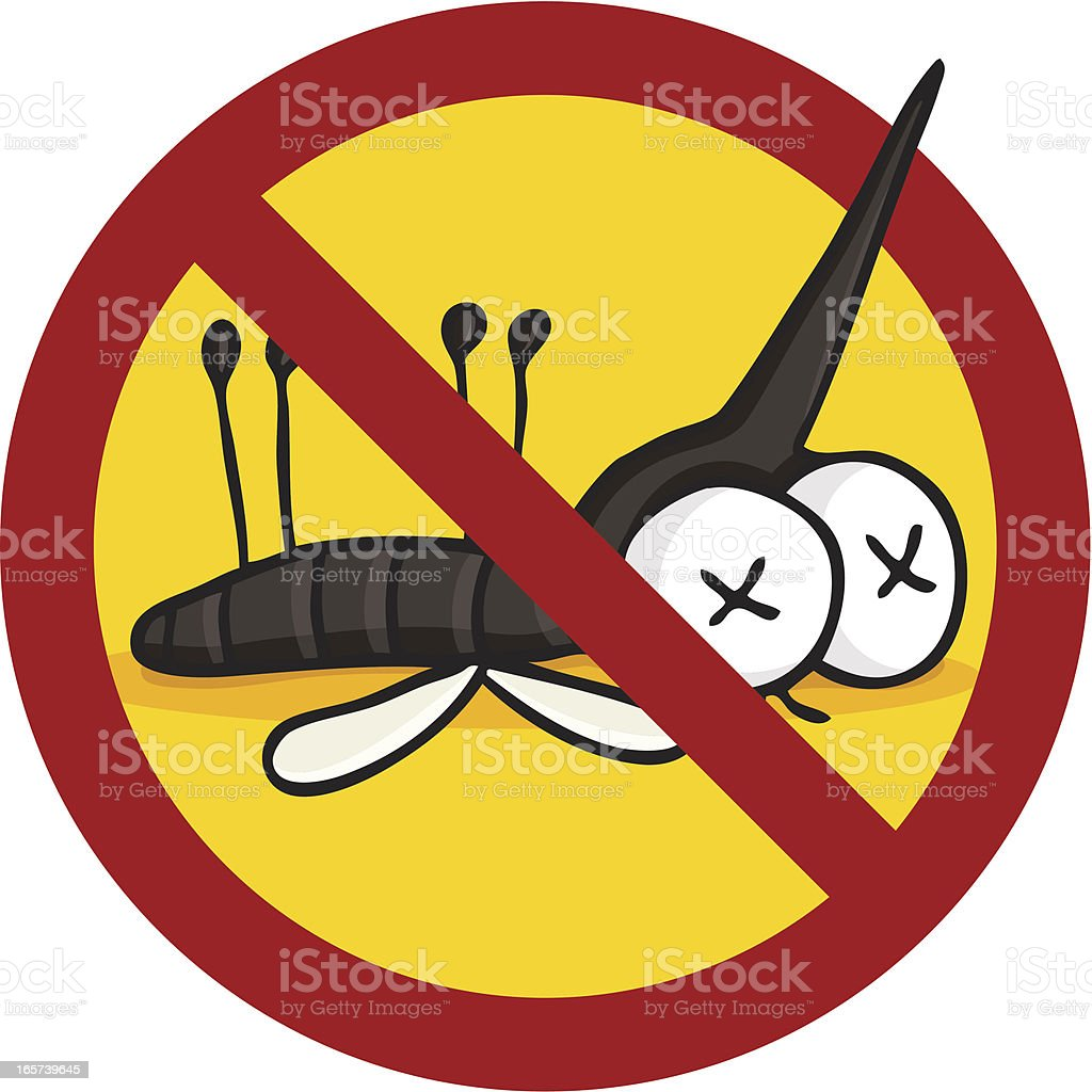 Cartoon insecticide symbol / dead mosquito vector art illustration
