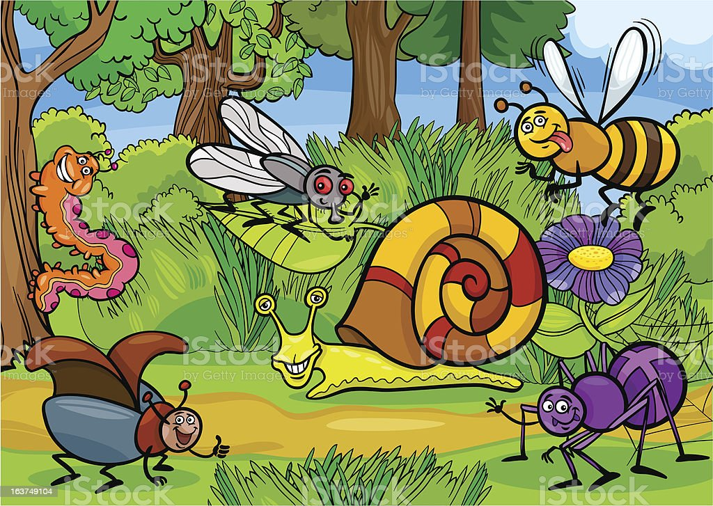 cartoon insects on nature rural scene royalty-free stock vector art