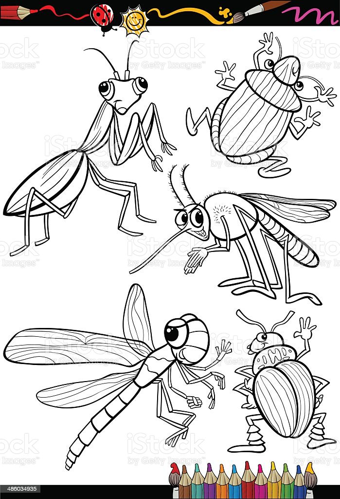 cartoon insects set for coloring book vector art illustration