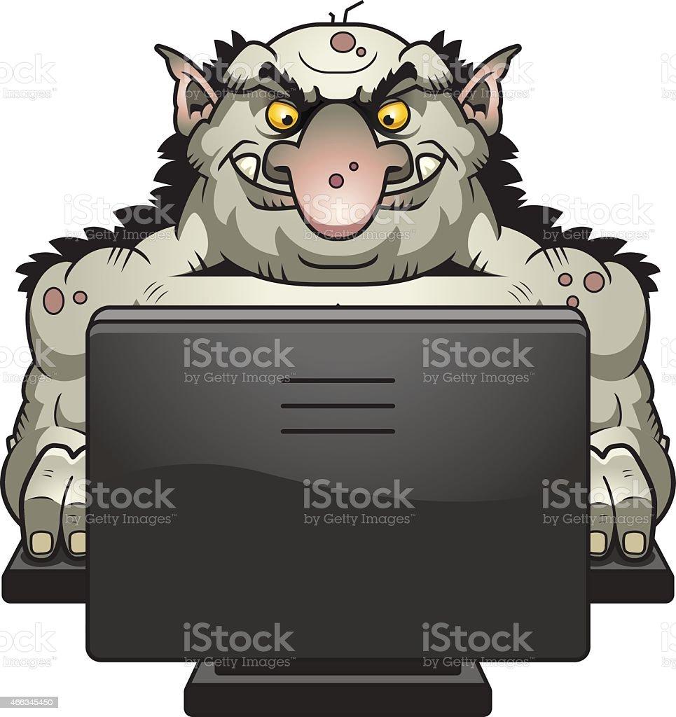 Cartoon Internet Troll vector art illustration