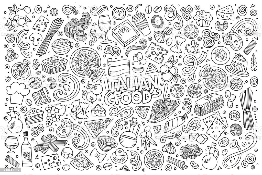 Cartoon italian food objects set vector art illustration
