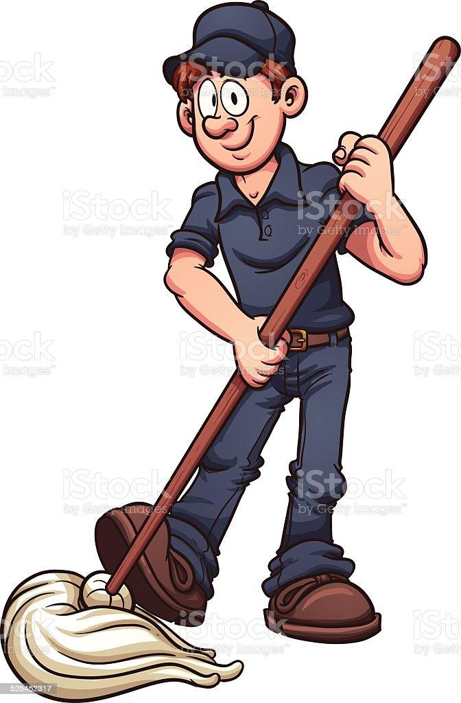 Cartoon janitor vector art illustration