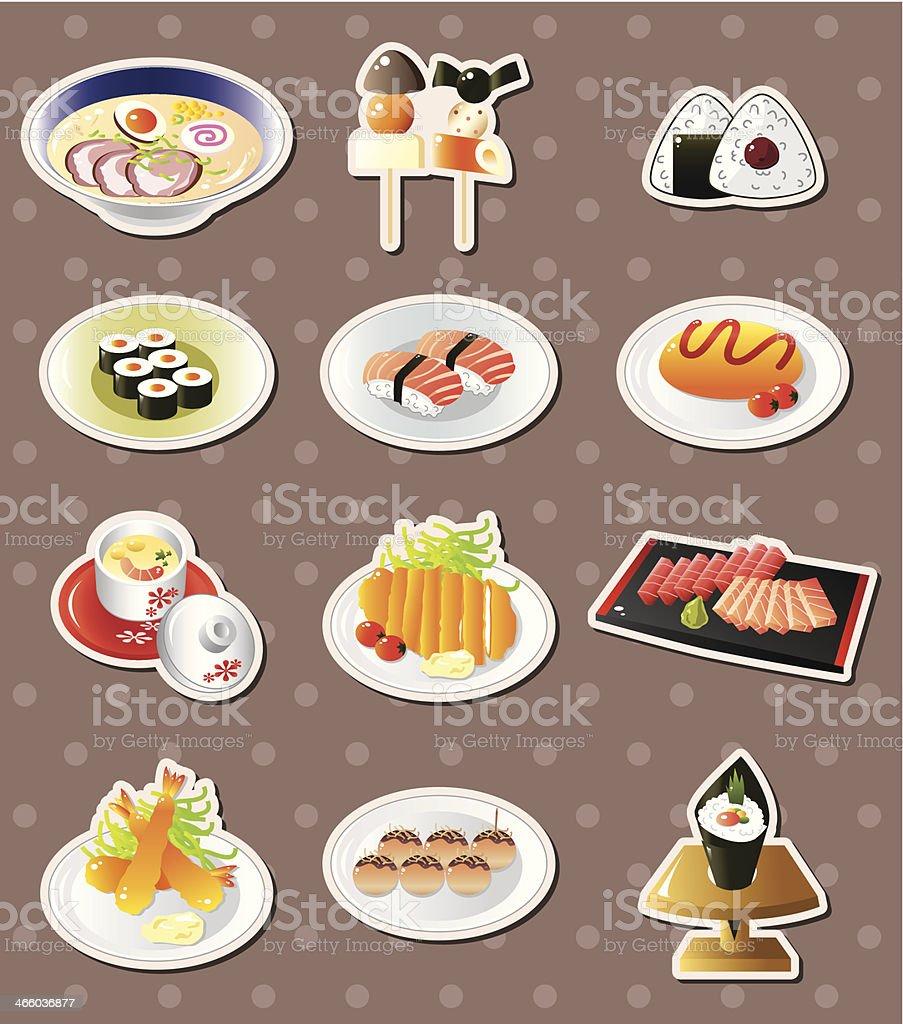 cartoon Japanese food stickers royalty-free stock vector art