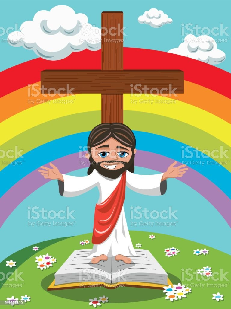 Cartoon Jesus Open Arms Gospel Bible Meadow stock vector art ...