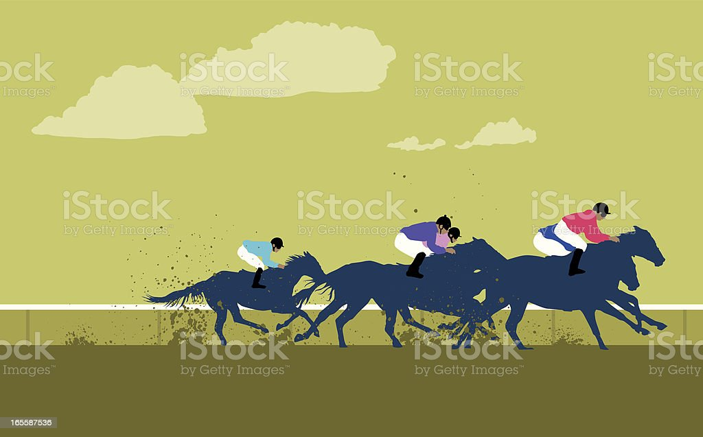 Cartoon jockeys and horses racing around the track vector art illustration