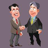cartoon joyful men in suits and ties shake hands