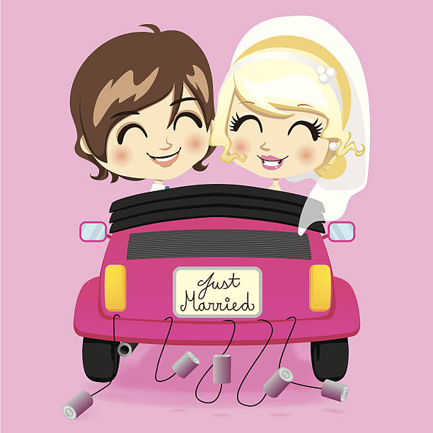 Just Married Car Clip Art, Vector Images & Illustrations