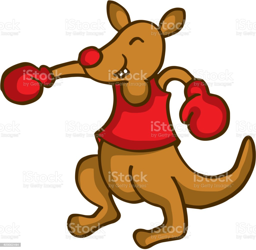 Cartoon kangaroo boxing funny collection vector art illustration