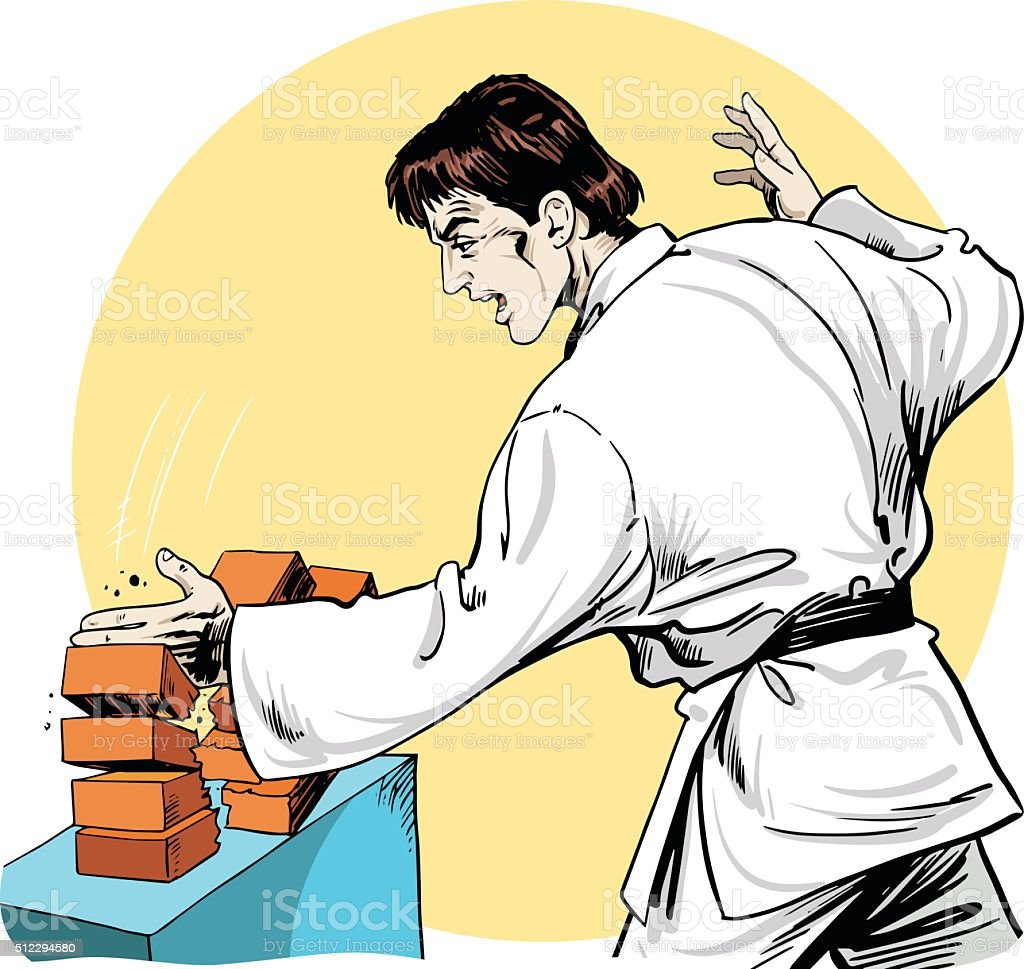 Cartoon Karate Guy vector art illustration