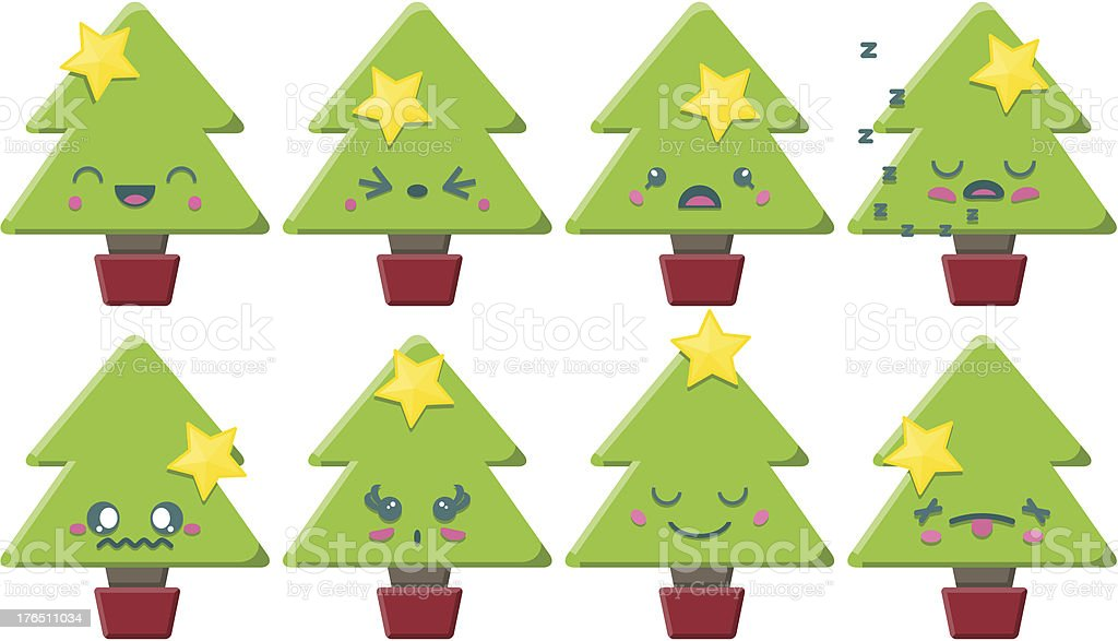 Cartoon Kawaii Christmas Tree Set royalty-free stock vector art