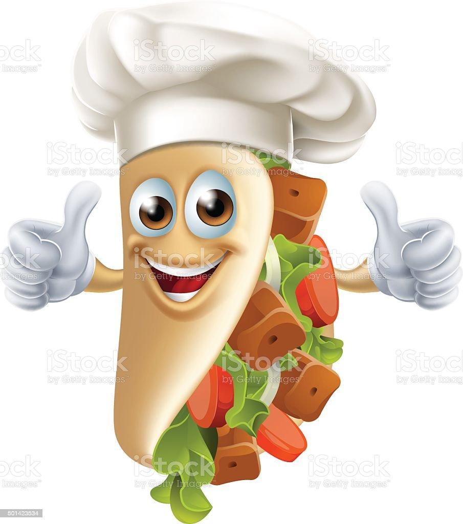 Cartoon Kebab Character vector art illustration