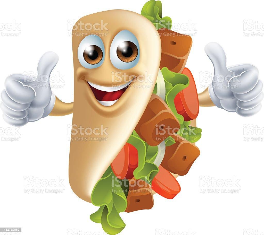 Cartoon Kebab Man vector art illustration