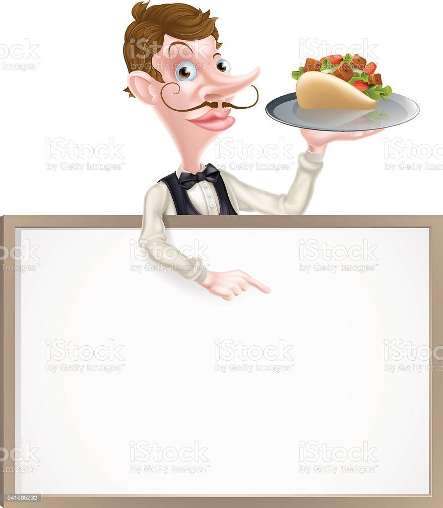 Cartoon Kebab Waiter Sign vector art illustration
