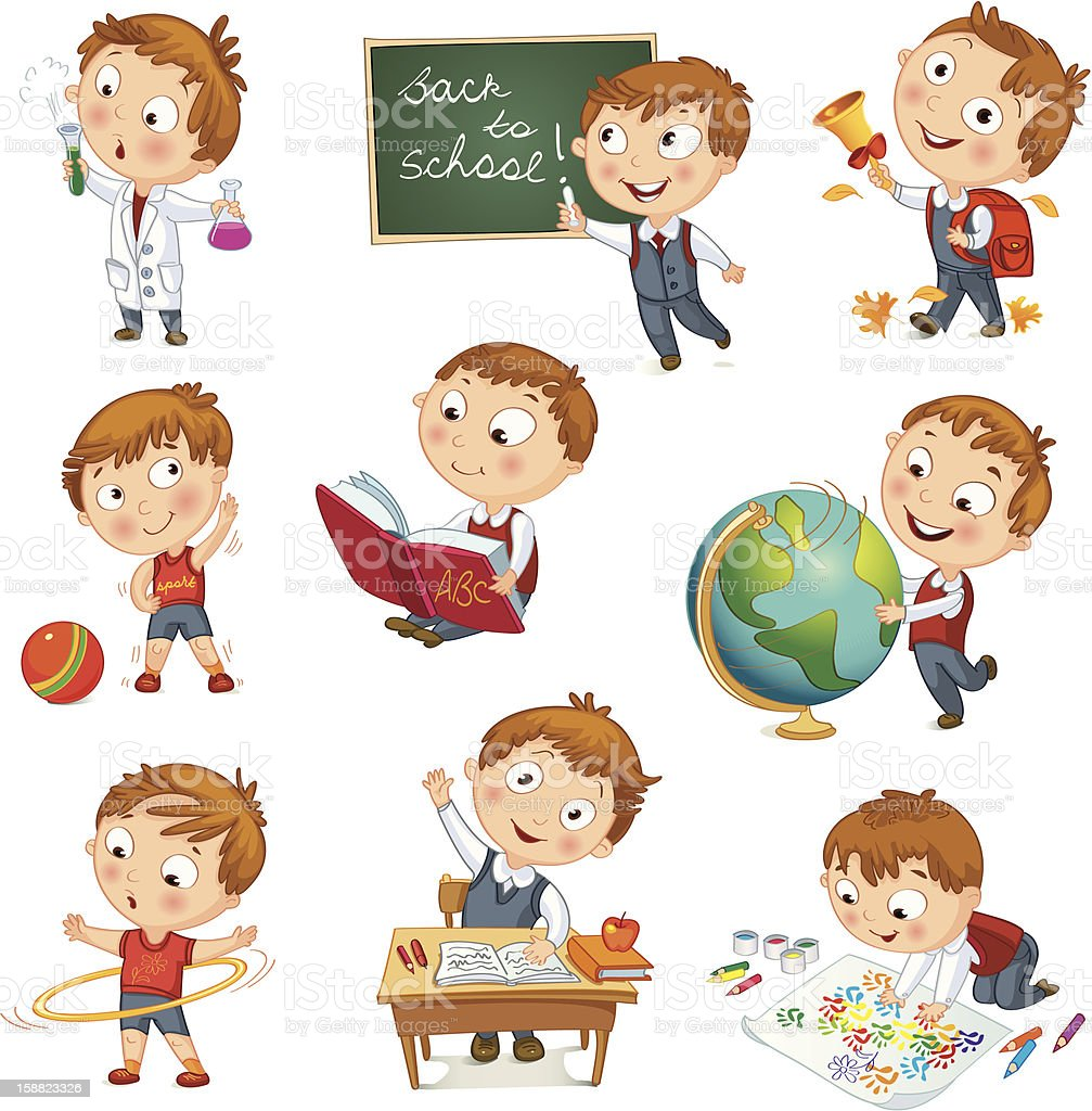 A cartoon kid showcasing all his activities at school royalty-free stock vector art
