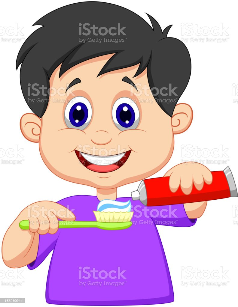 Cartoon Kid squeezing tooth paste on a toothbrush royalty-free stock vector art