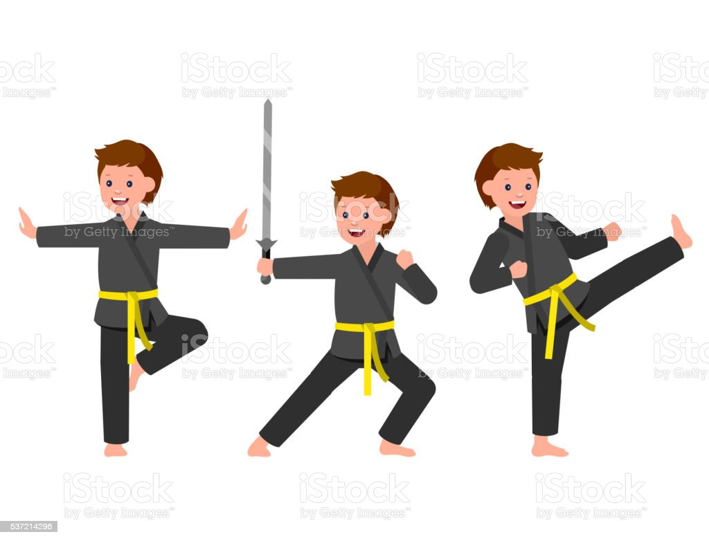 Cartoon kid wearing kimono, martial art vector art illustration
