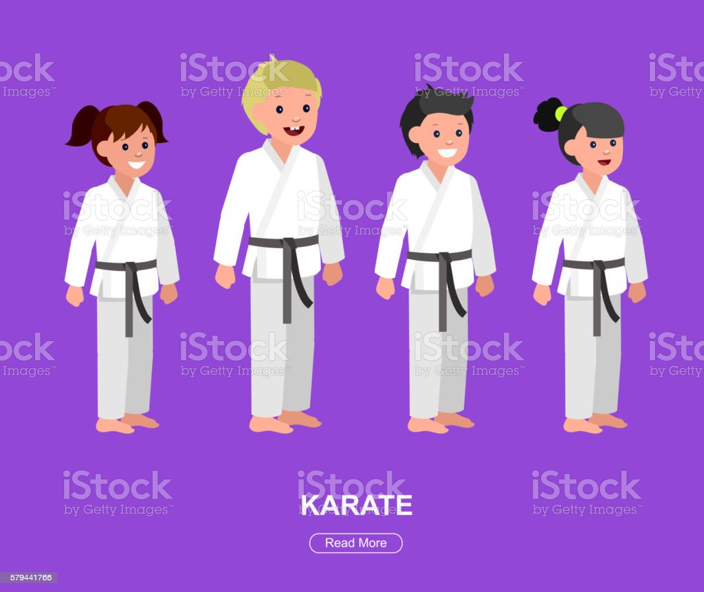 Cartoon kid wearing kimono, martial art vector art illustration