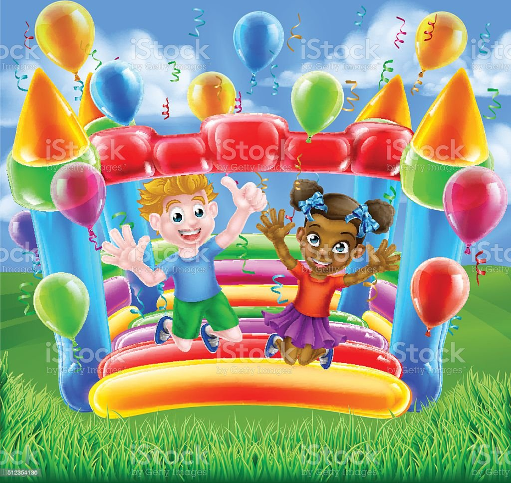 Cartoon Kids Bouncy Castle vector art illustration
