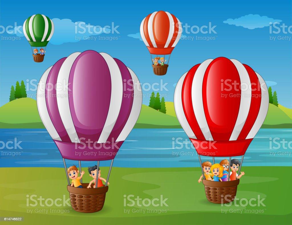 cartoon kids flying in a air balloon stock vector art