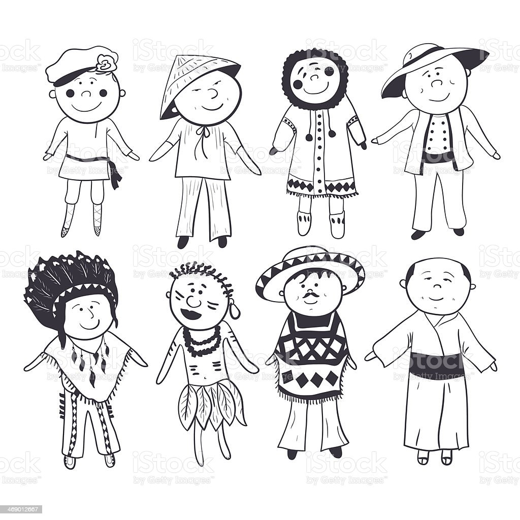 Cartoon kids in different traditional costumes vector art illustration