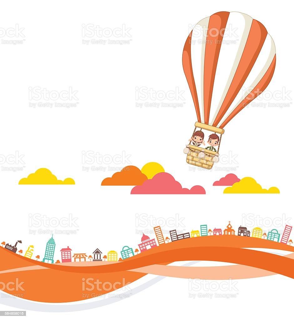 Cartoon kids inside a hot air balloon flying vector art illustration