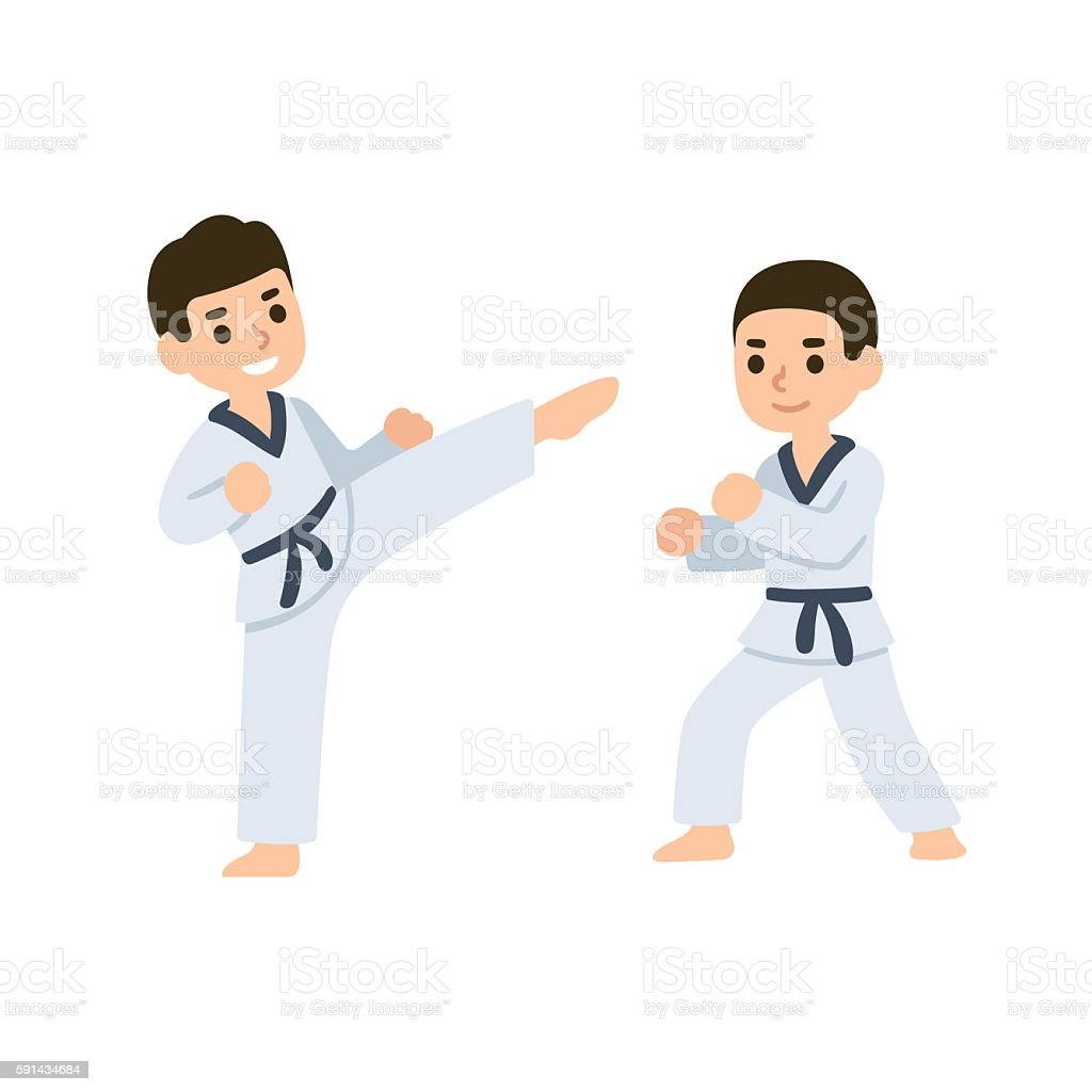 Cartoon kids martial arts vector art illustration