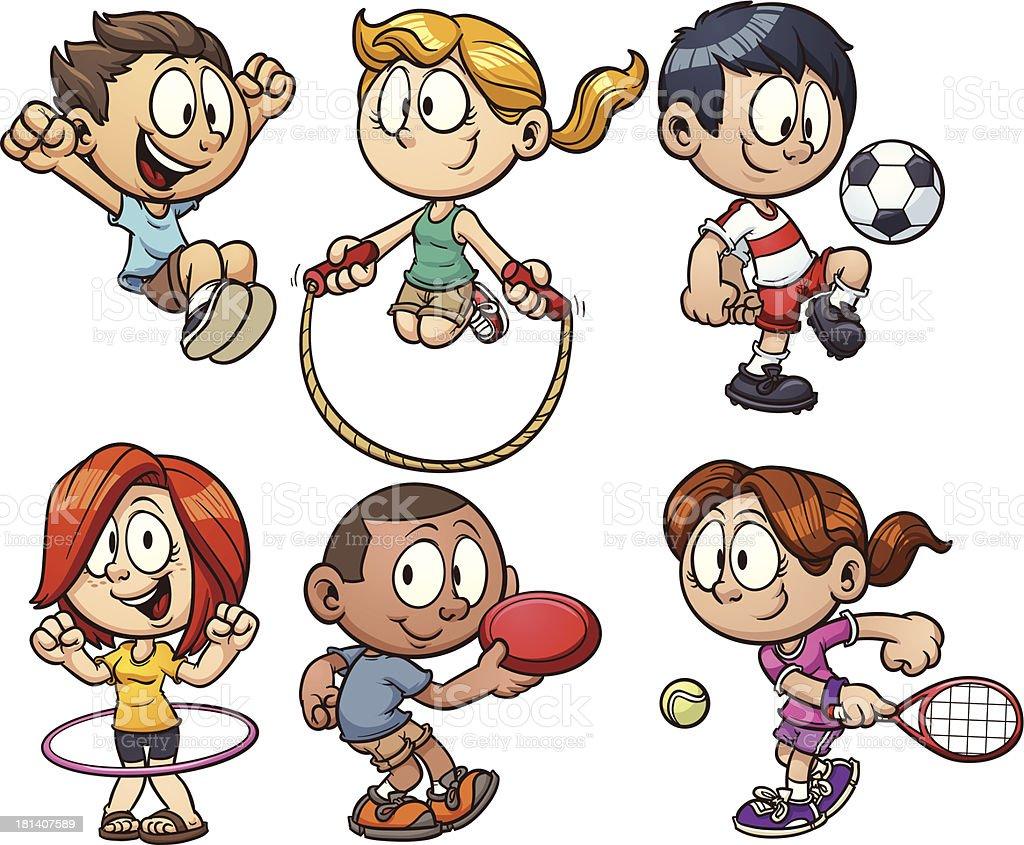 Cartoon kids playing royalty-free stock vector art