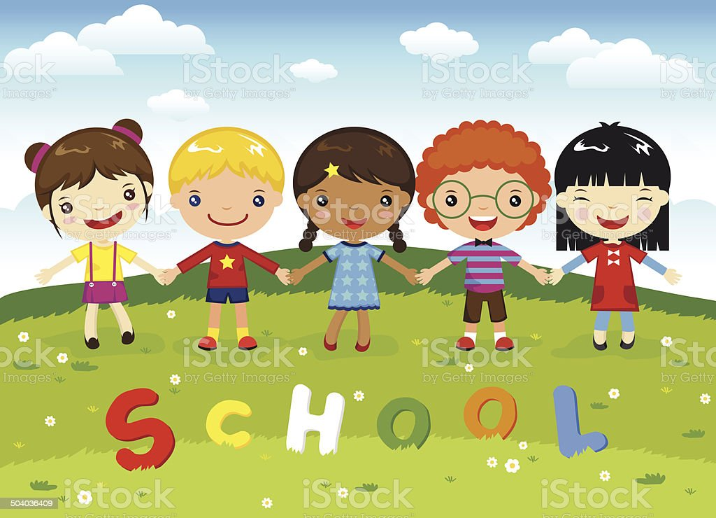 Cartoon kids school royalty-free stock vector art