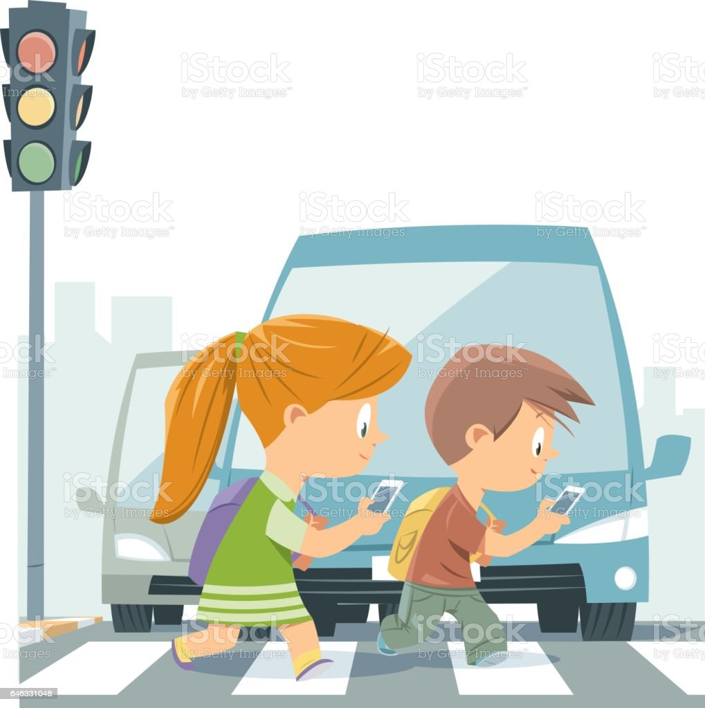 Cartoon Kids Walking With Smart Phone vector art illustration