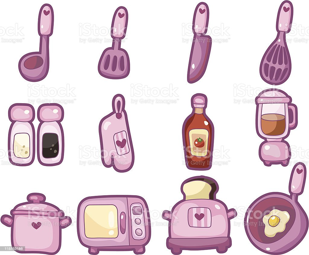 cartoon kitchen icon set royalty-free stock vector art