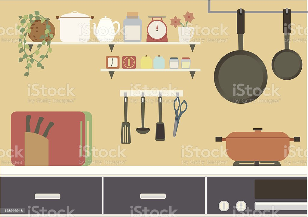 cartoon kitchen illustration cooking domestic kitchen basket cartoon