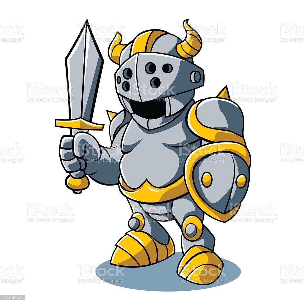 Cartoon knight With Swords Shield Helmet Army Uniform vector art illustration