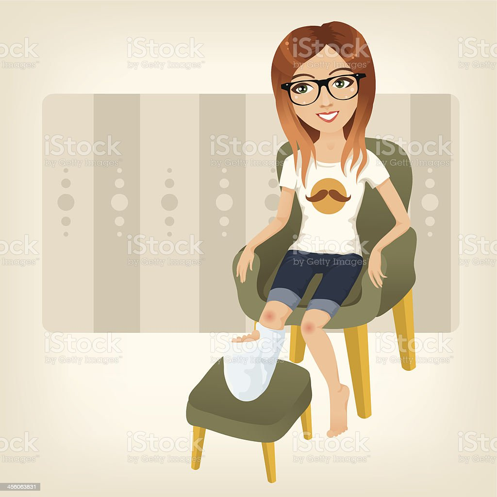 A cartoon lady sat down nursing her broken leg vector art illustration