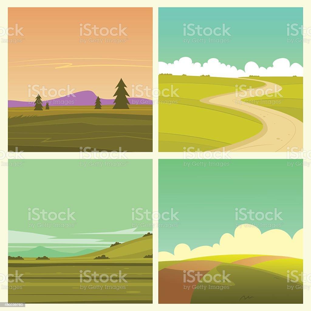 Cartoon Landscape Set vector art illustration