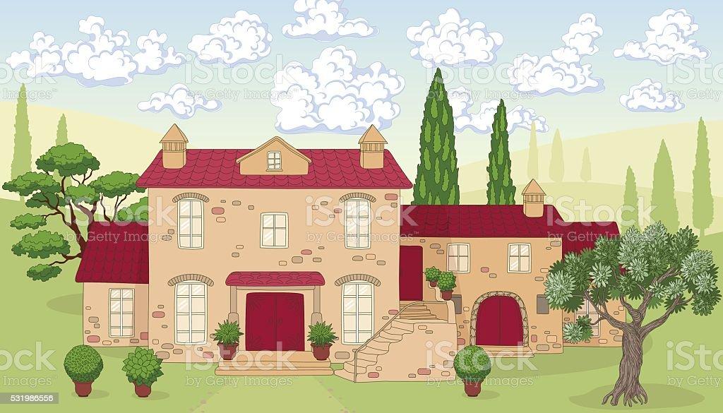Haus bauen comic  Comic Landschaft Mit Haus Bäume Und Wolken Vektor Illustration ...