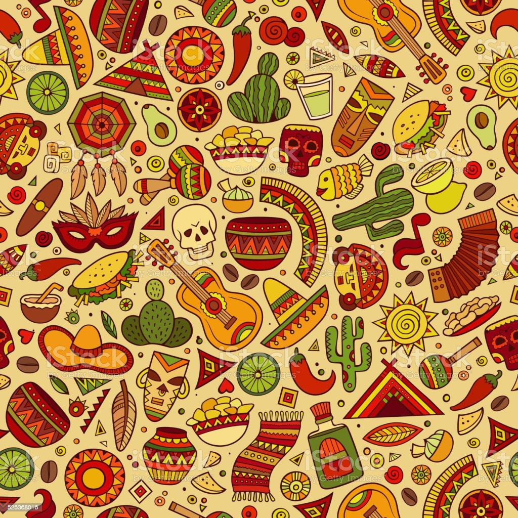 Cartoon latin american seamless pattern vector art illustration