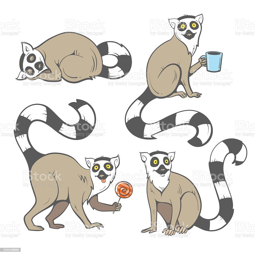 Cartoon lemurs set. vector art illustration