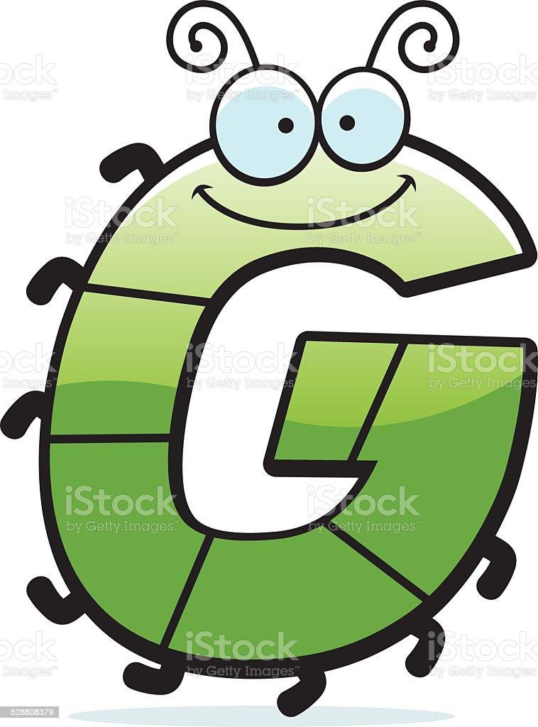 Cartoon Letter G Bug vector art illustration