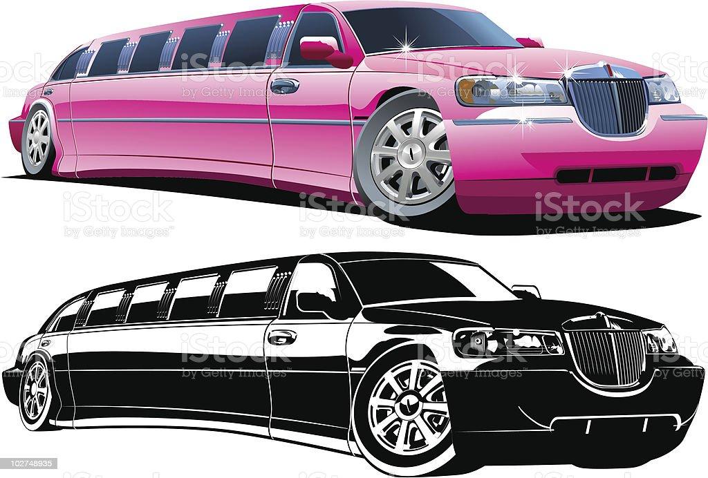 Cartoon limousine vector art illustration