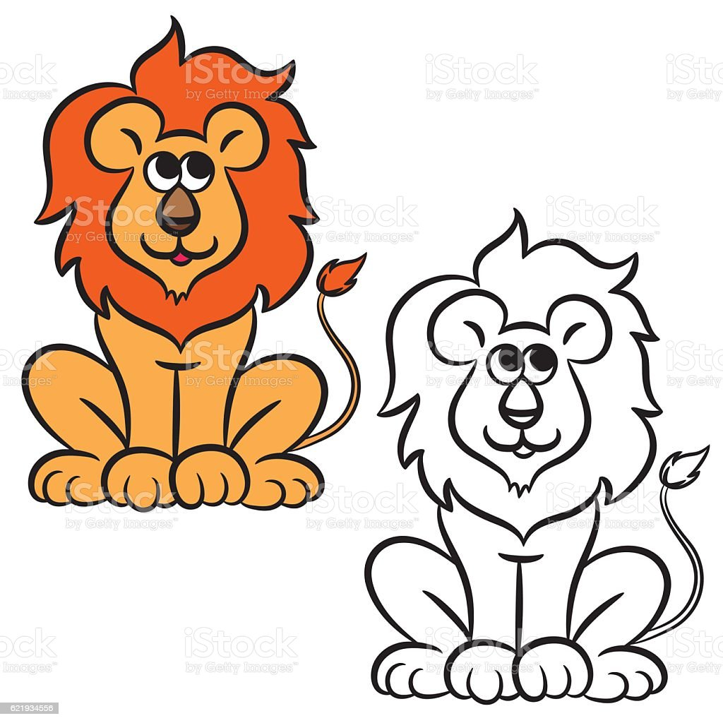Cartoon lion. Coloring book vector art illustration