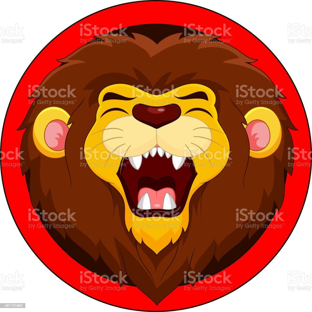 Cartoon lion roaring vector art illustration
