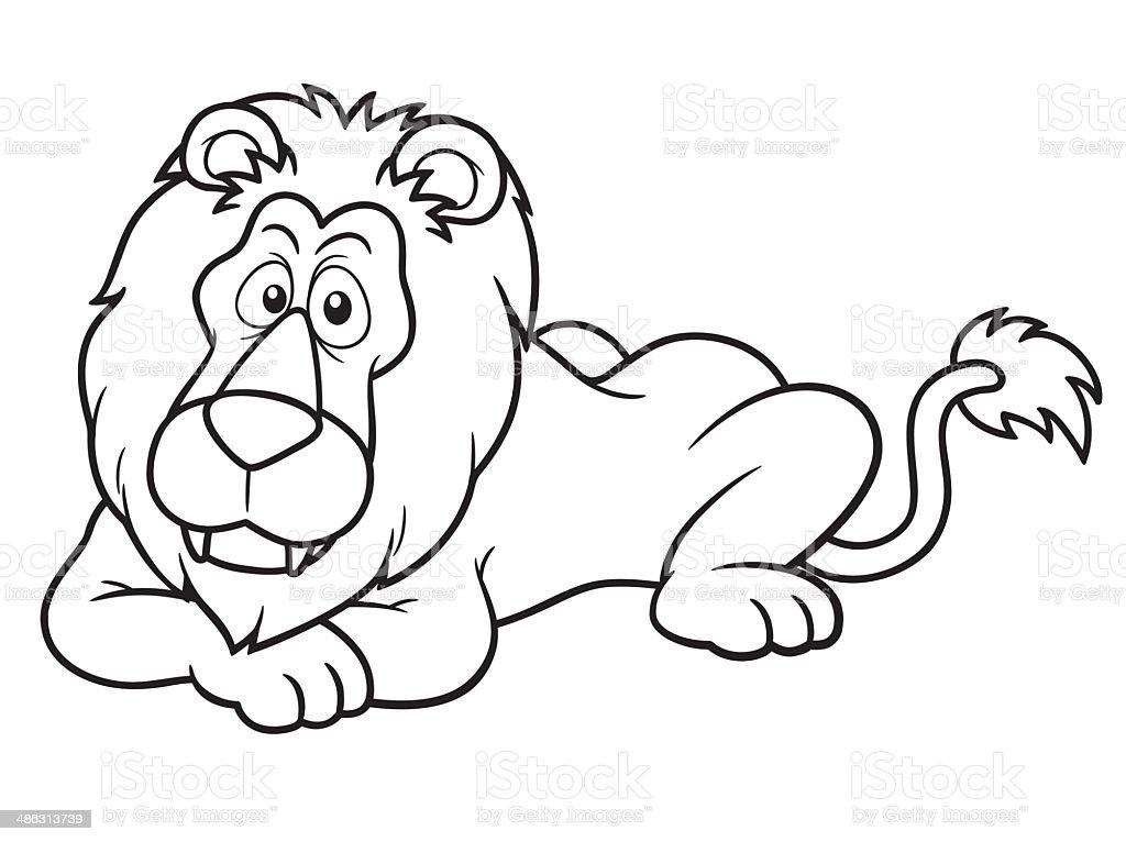 Cartoon lion vector art illustration